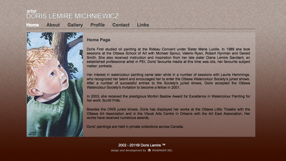 Doris Lemire. Website Preview Image