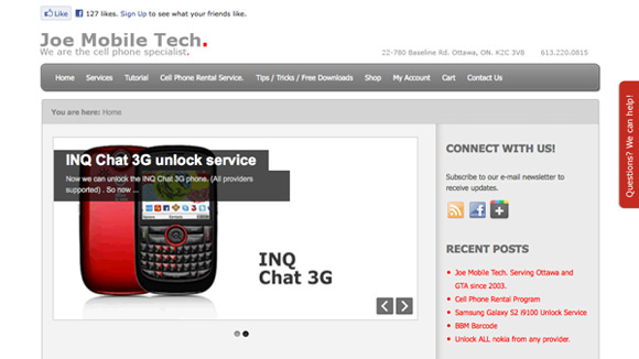 Joe Mobile Tech. Website Preview Image